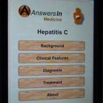 Hepatitis C AnsweresInという音声付きのiPhone用の英文C型肝炎に関する電子書籍の目次です。医師、看護師、患者さん用となっています。